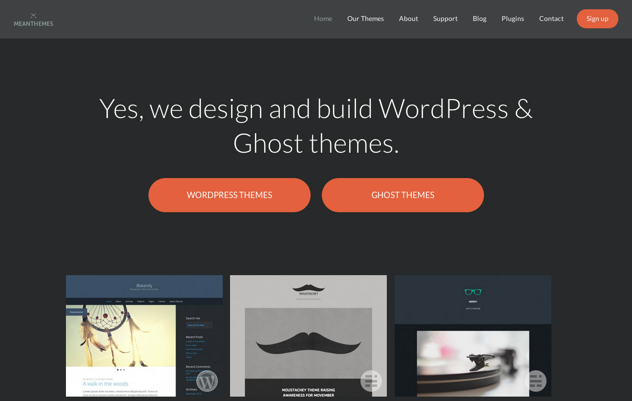 Ghost Blog Themes and A New Design for MeanThemes