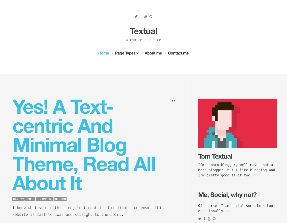 Textual – A Text-Centric WordPress Theme